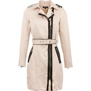 Trench ceinturé empiècements fantaisie femme beige morgan
