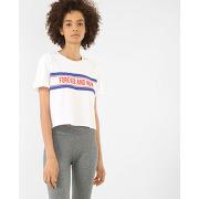 ✅t-shirt court à message femme - couleur blanc - taille l - pimkie - mode femme