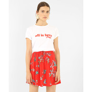 ✅t-shirt à message femme - couleur blanc - taille l - pimkie - mode femme