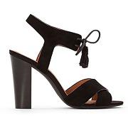 Soldes ! sandales cuir liens pompons - feminin - noir - la redoute collections