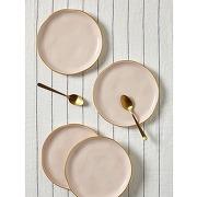 Soldes ! assiette à dessert à bord doré par lot de 4 - cyrillus