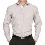 Chemise cintrée gris perle, opposition blanche, livrée dans son coffret