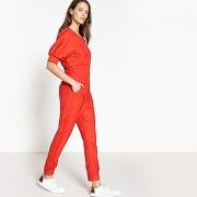 Combinaison pantalon zippée rouge