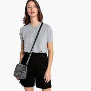 Tee-shirt à large côte gris chiné