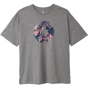T-shirt feather col rond, manches courtes gris