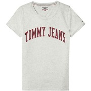 Tshirt col v logo tommy jeans gris clair chiné