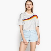 T-shirt imprimé, col rond, manches courtes imprimé fond gris chiné
