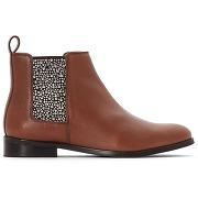 Boots chelsea cuir élastique clouté camel