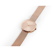 Saburo, montre, boîtier et bracelet maille fini or rose