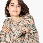 Pull col rond grosse maille, torsades multicolore