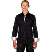 Chemise homme coton bicolore noire/lilas