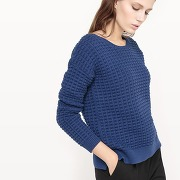 Pull coton, maille fantaisie rouge - french connection