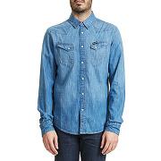 Chemise en jean wrangler city western bleu homme