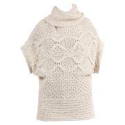 Pull cameso en laine - vila, ecru - laine
