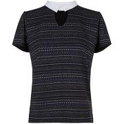 Naf naf top imprimé col chemise bleu marine
