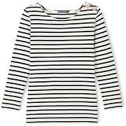 T-shirt femme manches longues à rayure marinière petit bateau beige, bleu