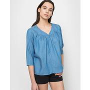 Blouse chambray lyocell bleu femme - tom tailor