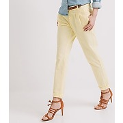 Pantalon carrot en coton femme jaune clair - promod