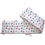 Tour de lit star blanc imprimé grandes étoiles multicolores