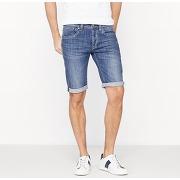Soldes ! bermuda cane short en denim coton stretch - masculin - bleu - pepe jeans