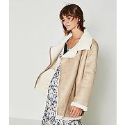 Manteau effet peau lainee caramel - promod