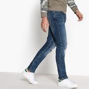 Soldes ! jean coupe slim effet destroy - masculin - bleu - la redoute collections