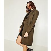 Manteau long en laine femme kaki - promod