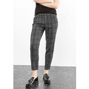 Pantalon droit carreaux gris