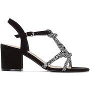 Sandales brides cordon noir/blanc