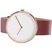 Molvena, montre, doré rose et bracelet en cuir rouge