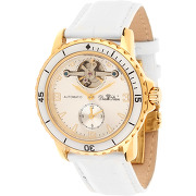 Diamstars--montre mixte en cuir compressor blanche-t.u