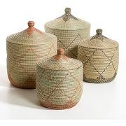 Panier paille de riz petit modèle h48 cm, louna naturel/noir