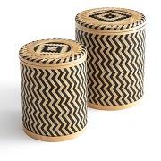 Boites en bambou tressée (lot de 2) bacha naturel/noir