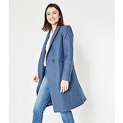 Manteau long en laine gris bleu - promod