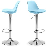Lot de 2 tabourets de bar design orlando couleur bleu pastel