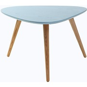 Table basse design frêne teinté bleu artik