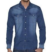 Biaggio jeans - chemise manches longues - homme - cargil - denim bleu