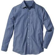 Chemise manches longues, à motif, regular fit bleu homme - bonprix