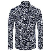 Minceur fleurs à la mode et imprimé feuilles turn-down collar hommes chemise à manches longues