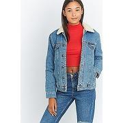 Bdg - veste en jean bleu style western avec peau de mouton - femme x38