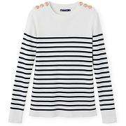 Pull marin femme en coton rayé petit bateau blanc, bleu