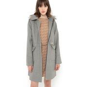 Manteau coupe trapèze 60% laine gris - mademoiselle r