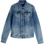 Veste en jean broderies florales au dos - bleu - femme - pepe jeans