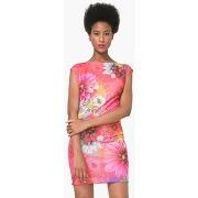 Robe courte manches courtes imprimée - feminin - rouge - desigual
