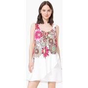 Robe courte drapée imprimée florale - feminin - beige - desigual