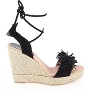 Sandales compensées clarice - noir - femme - elizabeth stuart