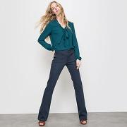Soldes ! pantalon flare 5 poches twill - feminin - bleu - la redoute collections