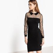 Soldes ! robe droite uni mi-longue, manches longues - feminin - noir - mademoiselle r