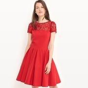 Soldes ! robe évasée, manches courtes, uni - feminin - rouge - mademoiselle r