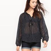 Soldes ! blouse ajourée florale en transparence - feminin - noir - see u soon